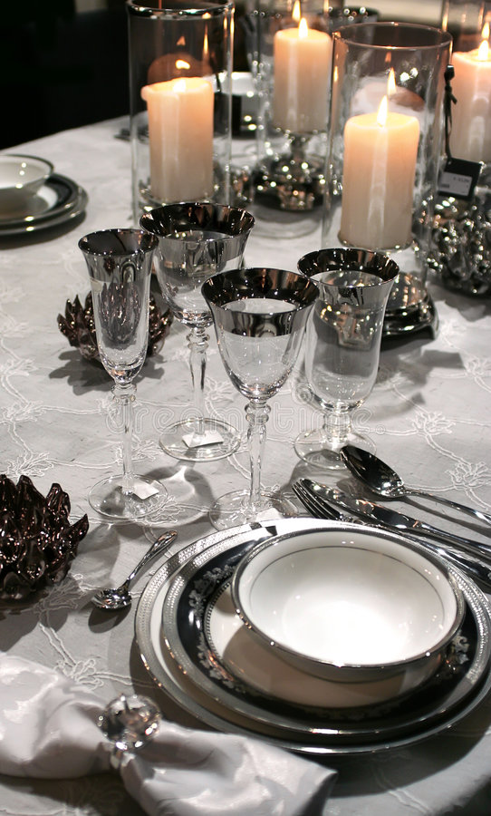 Holiday Set In Classic Style And Candles Stock Image