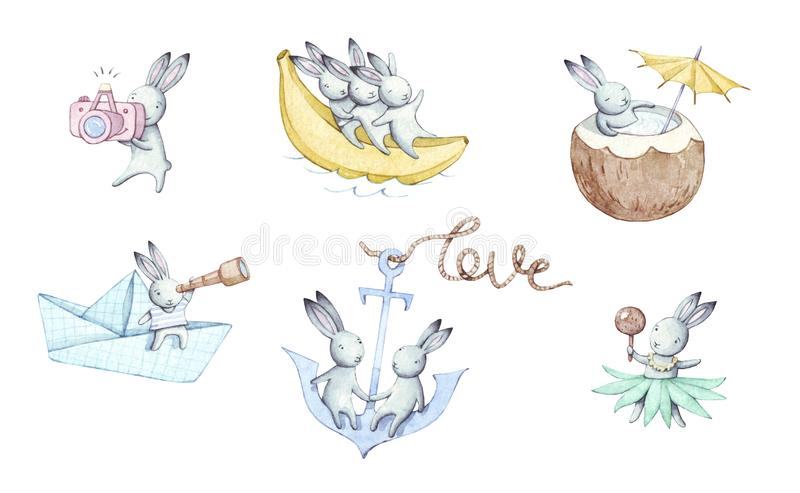 Holiday set of cute cartoons watercolor bunnies. vector illustration