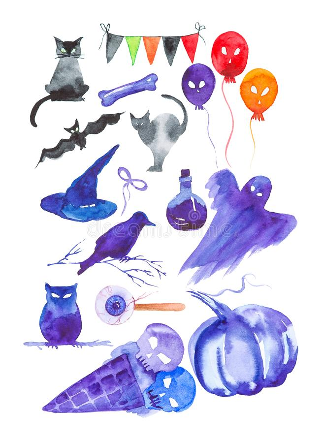 Holiday set for Halloween, black cat, bat, balls, Ghost, hat, pumpkin, eye, owl, crow, ice cream with skulls, potion.Watercolor. Illustration isolated on white royalty free illustration