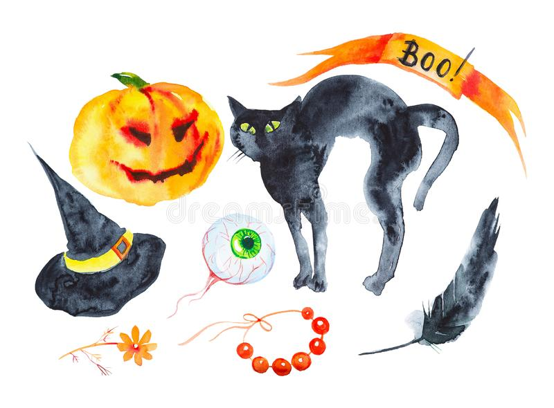 Holiday set for Halloween, pumpkin, black cat, hat, feather, eye, beads, flower .Watercolor illustration isolated on white. Background vector illustration