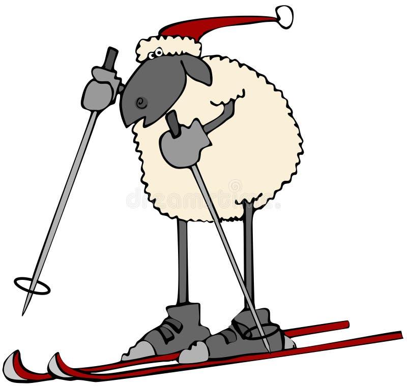 Holiday sheep on snow skis stock illustration