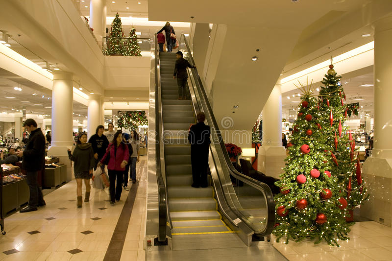 Holiday shopping department store stock image