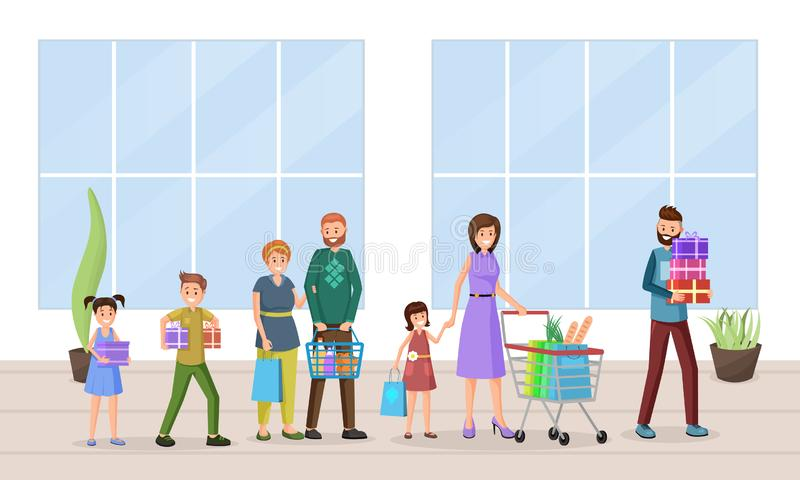 Holiday shopping flat vector illustration. Cheerful shoppers, buyers satisfied with purchased goods cartoon characters. Shopping mall visitors, customers with stock illustration