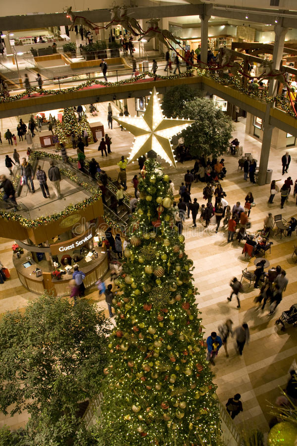 Holiday shopping mall stock photo