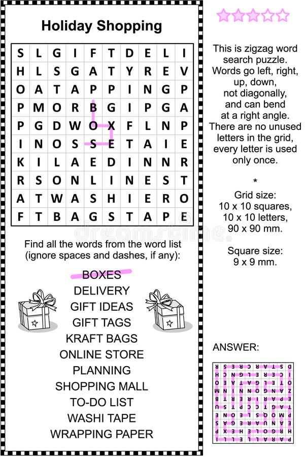 Download Holiday Shopping Wordsearch Puzzle Stock Vector