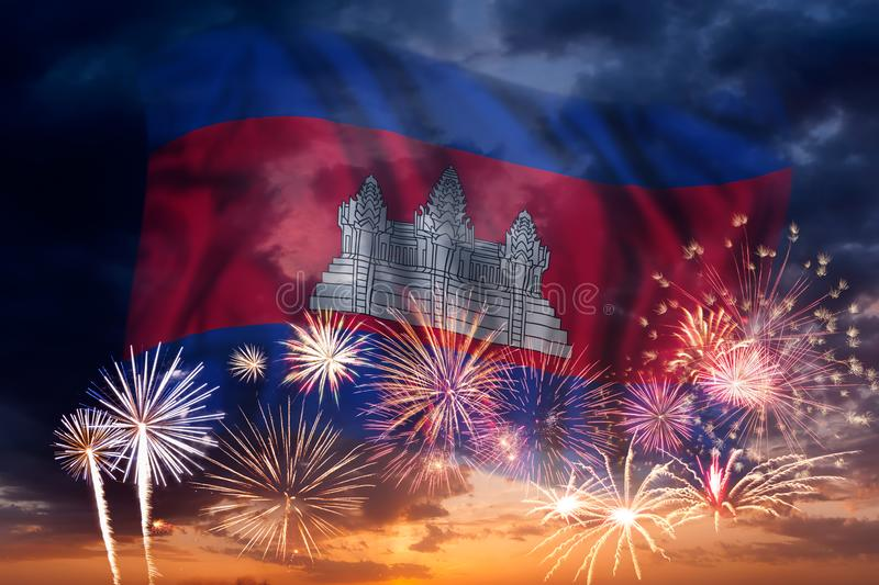 Fireworks and flag of Cambodia stock image