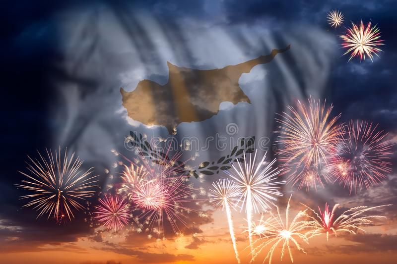 Fireworks and flag of Cyprus stock image