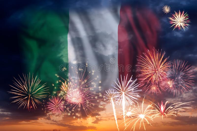 Fireworks and flag of Italy royalty free stock photos