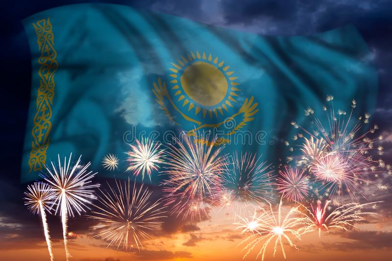 Fireworks and flag of Kazakhstan royalty free stock images