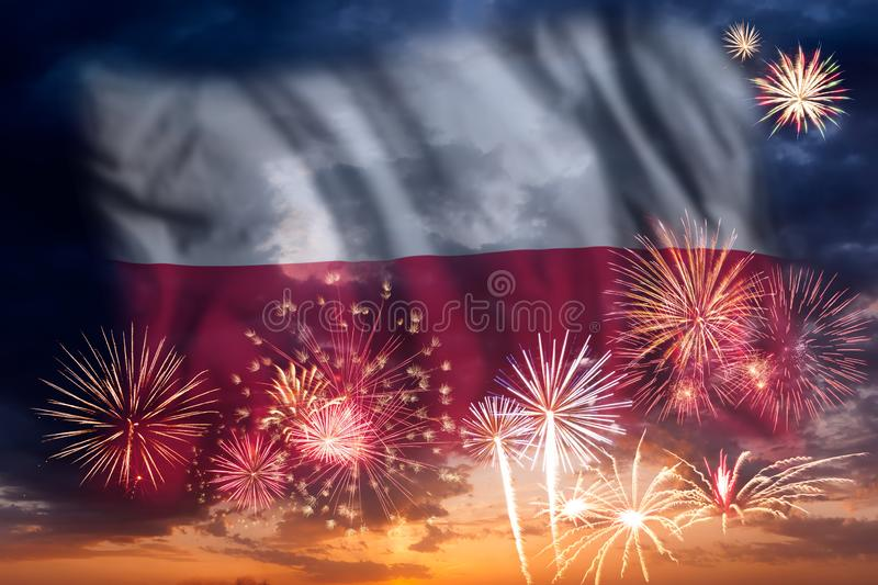 Fireworks and flag of Poland royalty free stock image