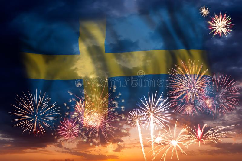 Fireworks and flag of Sweden royalty free stock photo