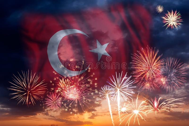 Fireworks and flag of Turkey stock images