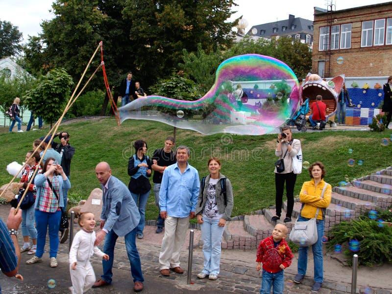 Holiday soap bubbles stock photography