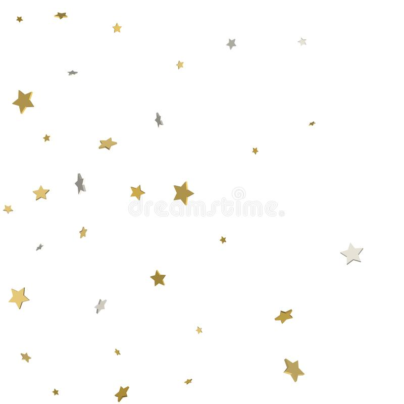 Holiday starry background. Gold stars. Confetti celebration, Falling golden abstract decoration for party, birthday. Celebrate, anniversary or event, festive stock illustration