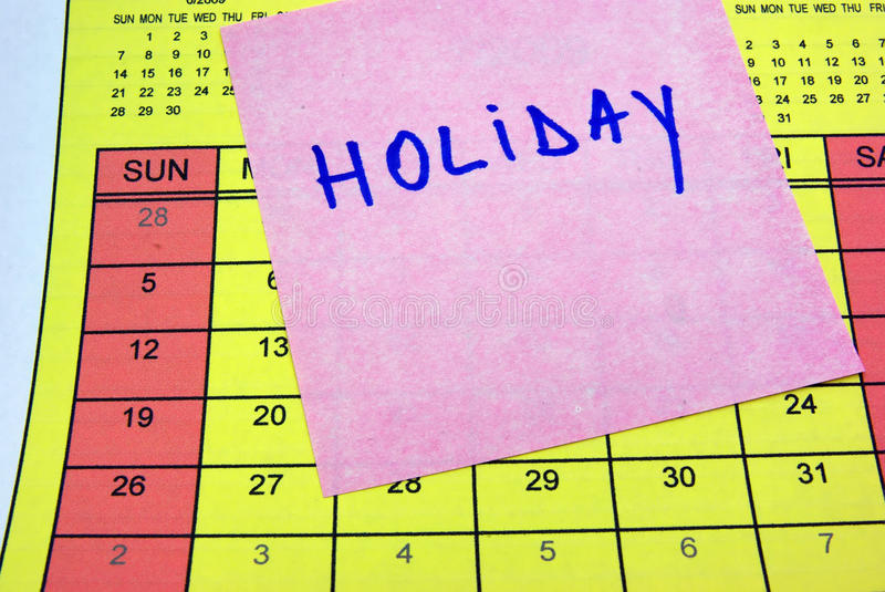 Download Holiday Sticky Note On Calendar Stock Image - Image: 9925137