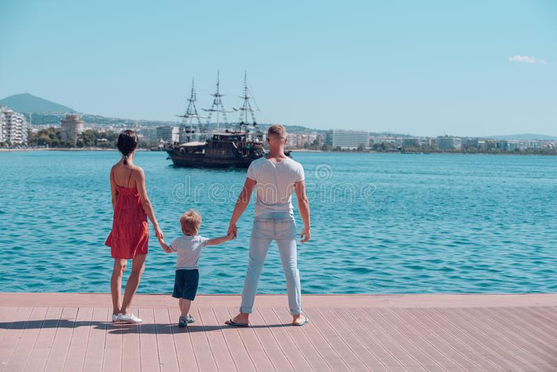 Holiday and summer vacation. holiday of happy family of son and parents. royalty free stock photos