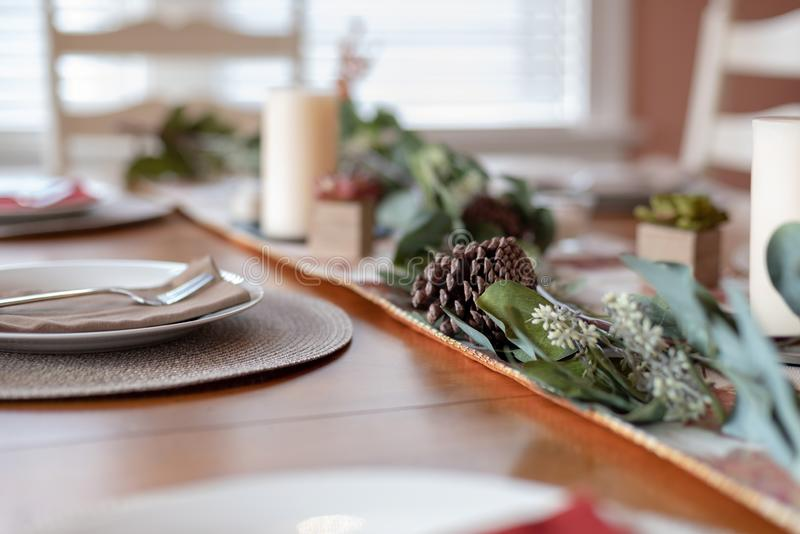 Holiday table decorations at home stock photography