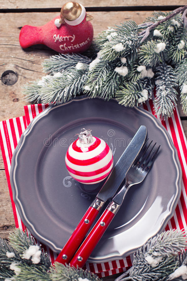 Holiday table settings royalty free stock photos