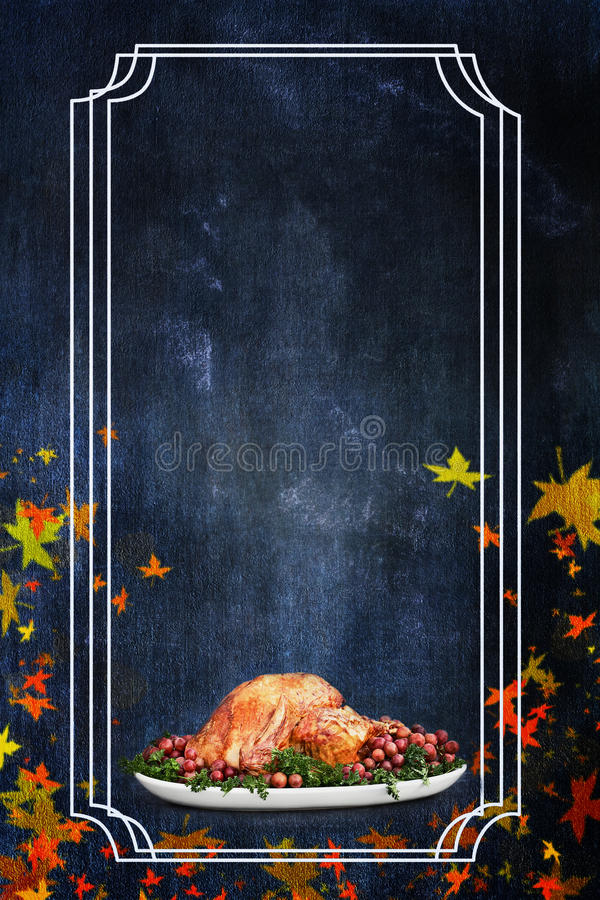 Holiday Thanksgiving Day Turkey Dinner Flier. Photo based illustration of a holiday Thanksgiving Day turkey flyer background with room for text royalty free stock photo