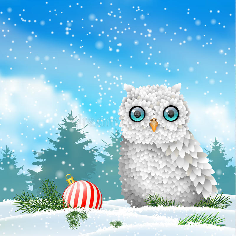 Free Holiday Theme, White Owl Sitting In Snow, With Red Christmas Ball, Illustration Royalty Free Stock Photos - 77204708