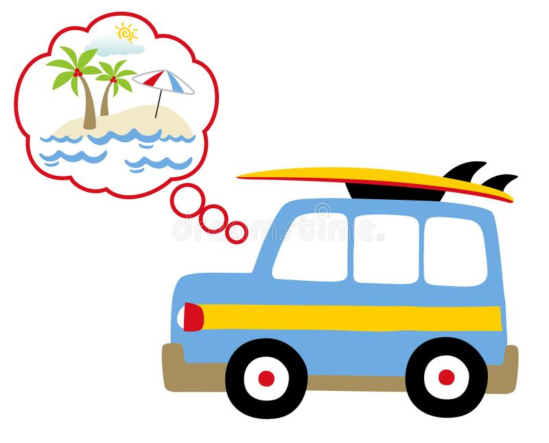 Holiday time with small blue car, go to beach, vector cartoon illustration stock illustration
