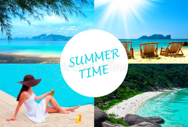 The holiday time, summer, beach, travel, vacation, sea concept stock photo