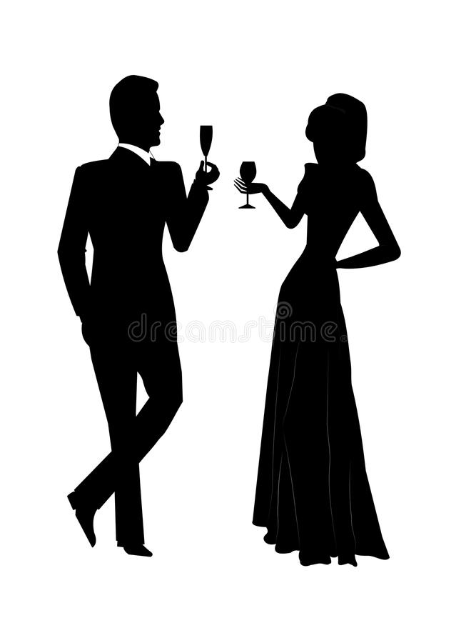 Holiday toast. Couple having a toast to holiday or special event in silhouette vector illustration