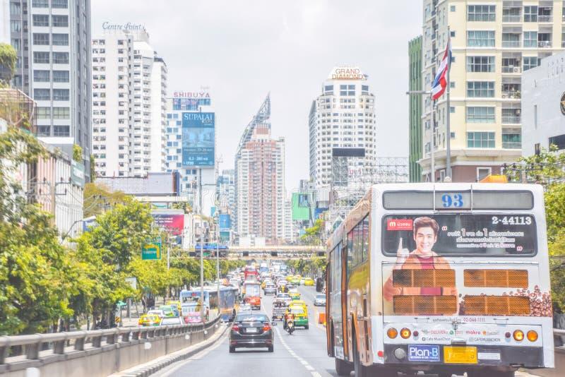 Holiday traffic at Pratunam area, Thai transportation system in Bangkok, Thailand : May 6. 2019 royalty free stock photo