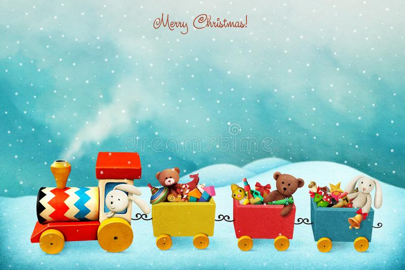 Holiday train with gifts royalty free illustration