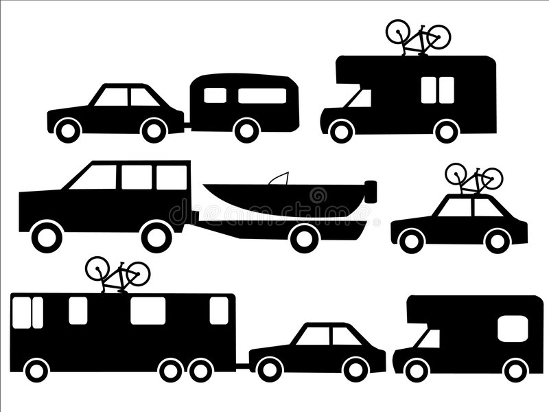 Holiday transportation. Recreation vehicles towing caravans and boats stock illustration