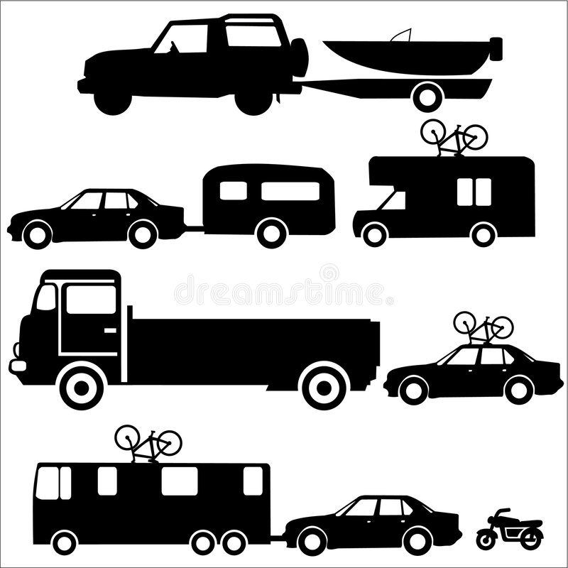 Holiday transportation. Recreation vehicles towing caravans and boats vector illustration