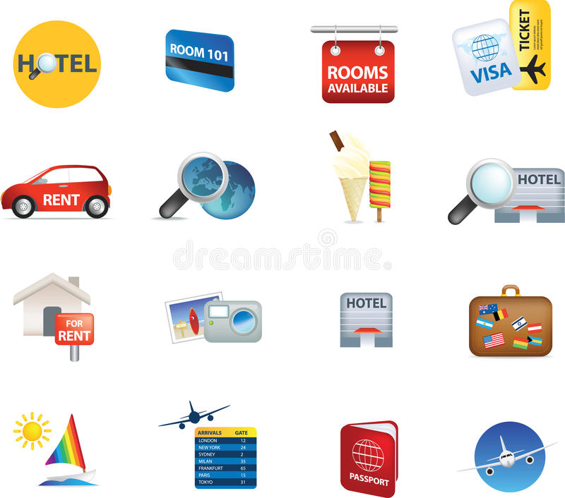 Holiday Travel And Vacation Icons Stock Images