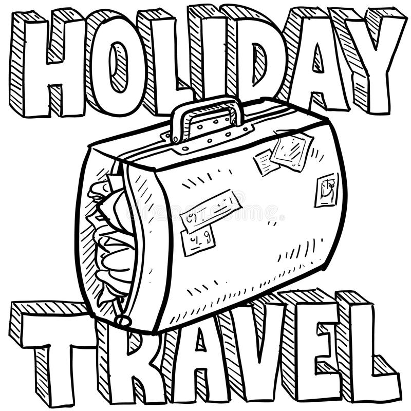 Holiday Travel Vector Sketch Stock Images