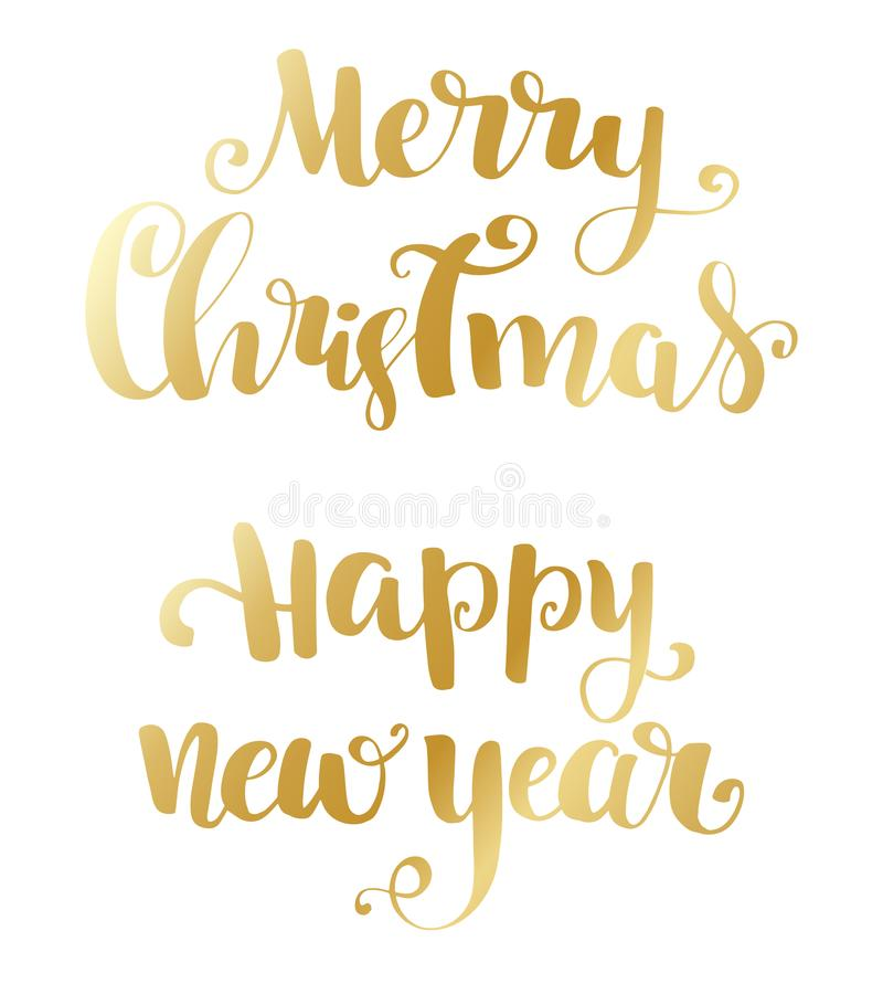 Merry Christmas brush lettering typography. Handwriting text design with winter handdrawn lettering. Happy New Year lettering set. vector illustration