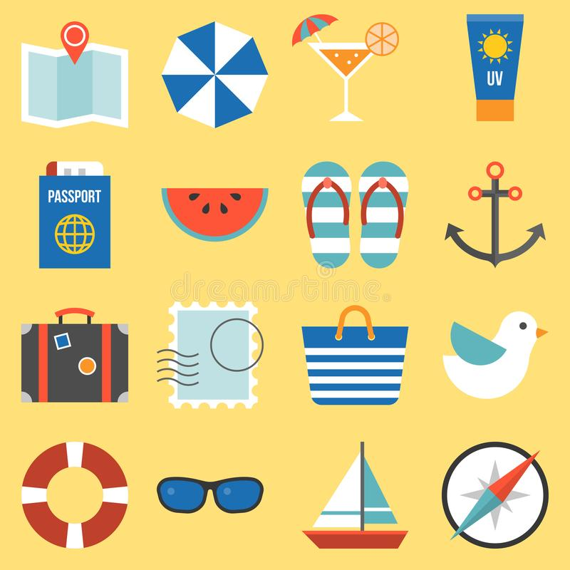 Holiday and vacation on sea icon stock illustration
