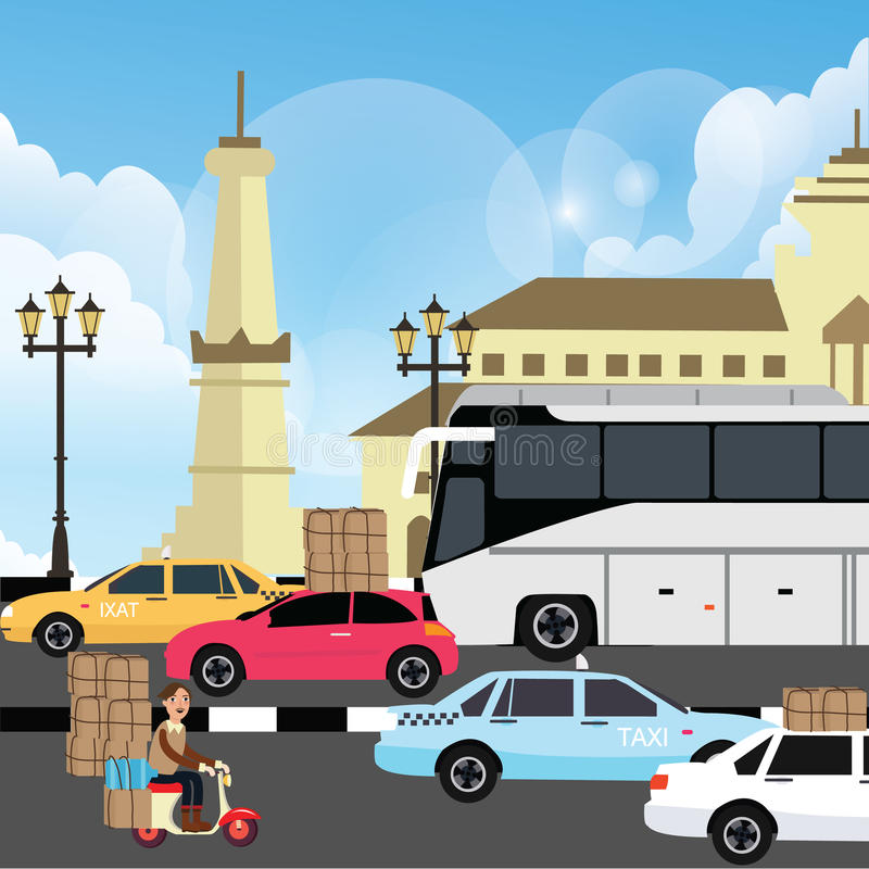 Holiday vacation traffic jam congestion illustration in yogyakarta street indonesia. Vector royalty free illustration