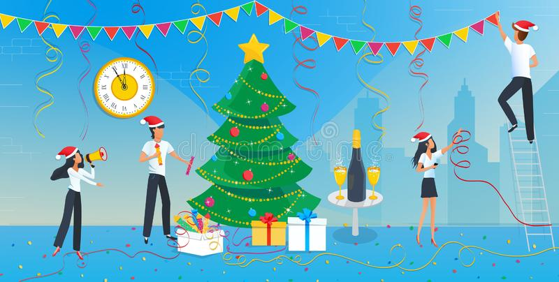 Holiday Vector illustration of group of business people are preparing for the Christmas party and decorating Christmas tree. In the corporate office at work stock photo