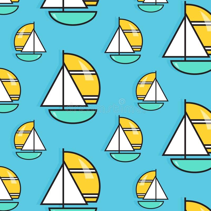 Holiday voyage pattern. Summer water trip wallpaper. Vacation sail boat print. Small ship marine texture. Cruise decoration. Holiday voyage pattern. Summer water vector illustration