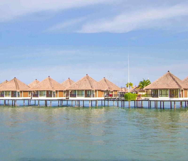 Holiday water chalets. In Malaysia royalty free stock photography