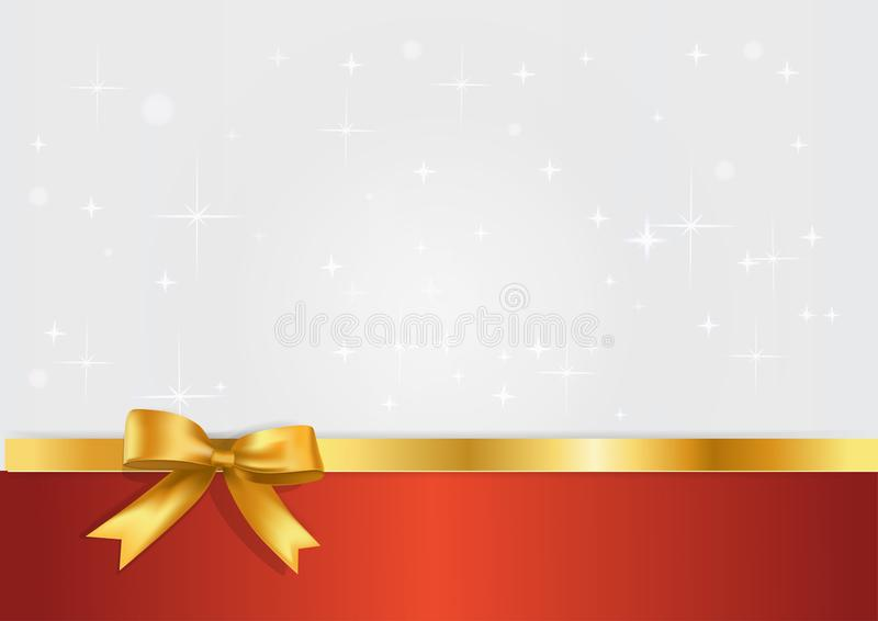 Holiday white and red banner with gift glossy realistic gold bow and ribbon. Glitter light silvet starry background with golden royalty free illustration