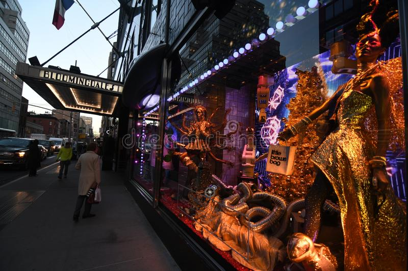 Holiday window display at Bloomingdale`s at 59th Street and Lexington Avenue, NYC. stock photo