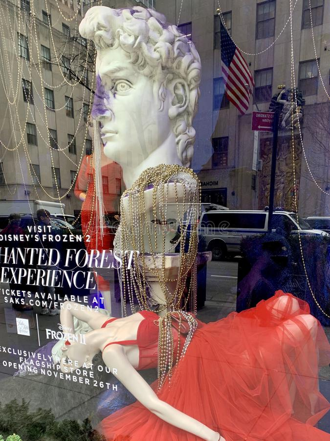 Holiday window display at Saks Fifth Avenue in NYC. stock photo