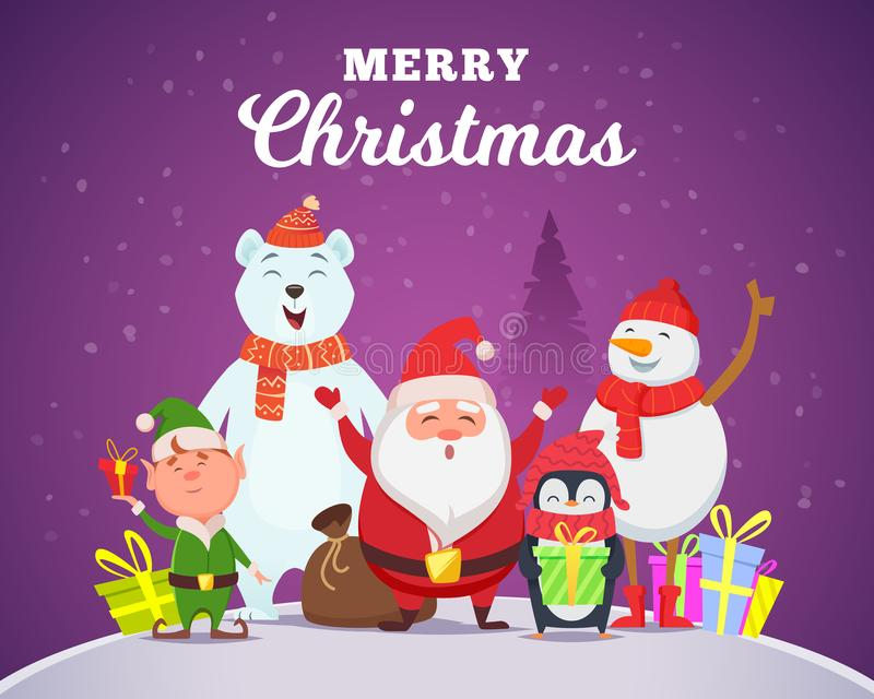 Holiday winter background. Christmas characters santa penguin white arctic bear character snow wildlife animals in royalty free illustration