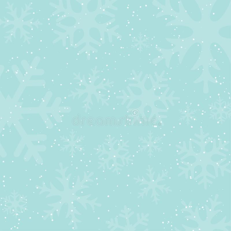 Holiday winter background with falling snow and snowflake silhouettes. Vintage colors. royalty free illustration