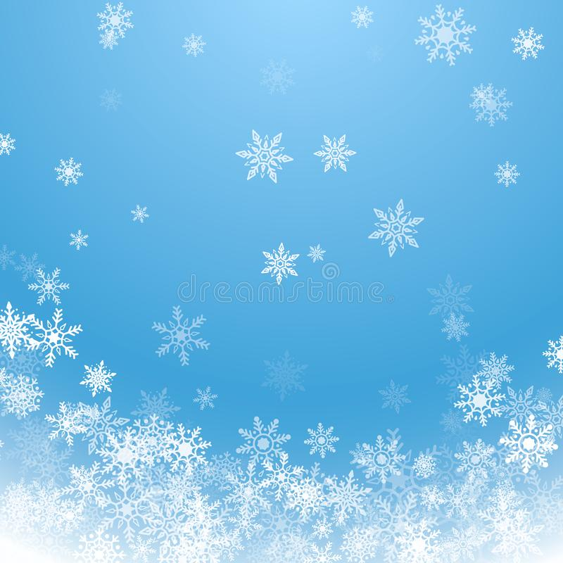 Holiday winter background for Merry Christmas and Happy New Year. Falling white snowflakes on blue background. Winter blue sky stock illustration