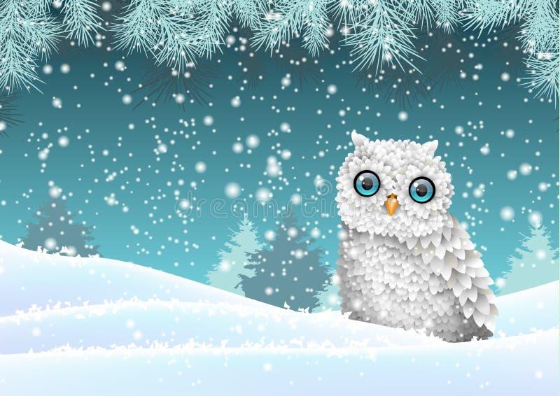 Holiday winter theme, white owl sitting in snow, illustration royalty free illustration