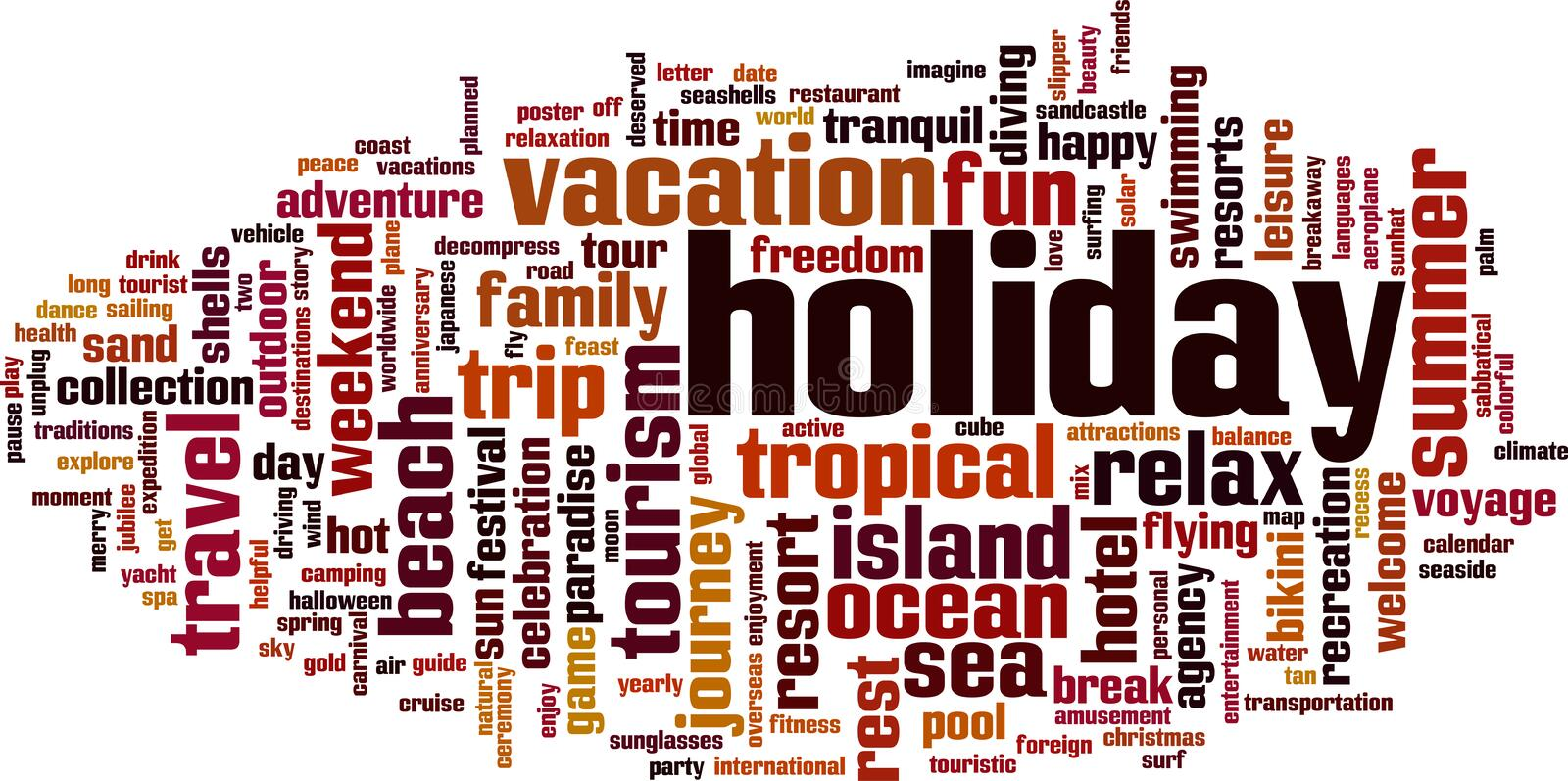 Holiday word cloud royalty free illustration
