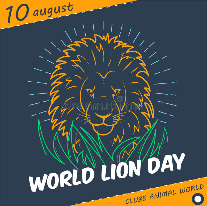 Holiday World Lion Day linear style royalty free illustration