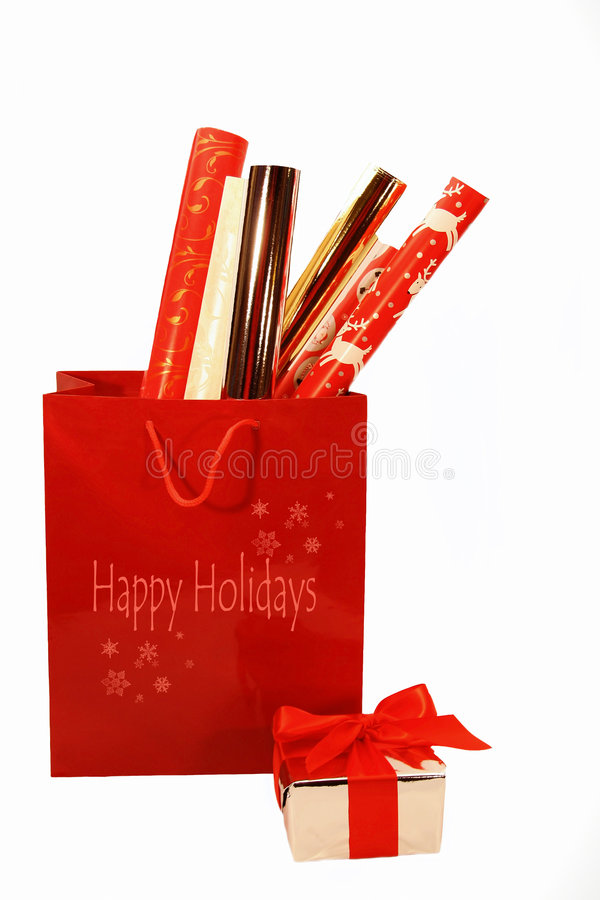 Holiday wrappings. On isolated white background stock images