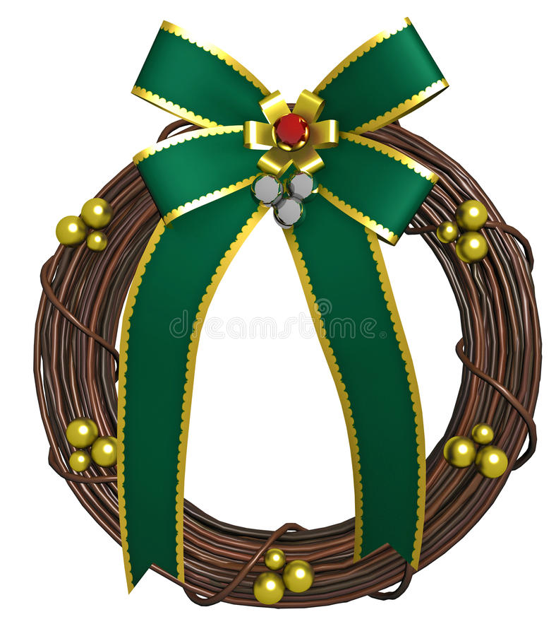 Download Holiday Wreath With Green Bow Stock Illustration - Illustration of illustration, hanging: 27092647